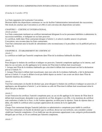 CONVENTION SUR L'ADMINISTRATION INTERNATIONALE DES ...