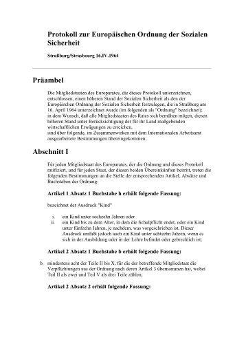 Protokoll zur Europäischen Ordnung der Sozialen Sicherheit ...