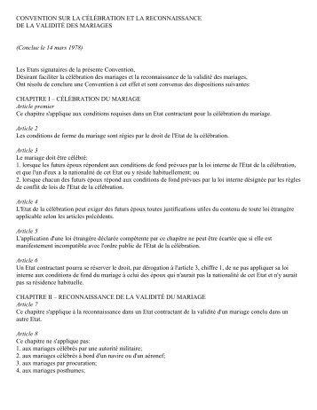 CONVENTION SUR LA CÉLÉBRATION ET LA RECONNAISSANCE ...