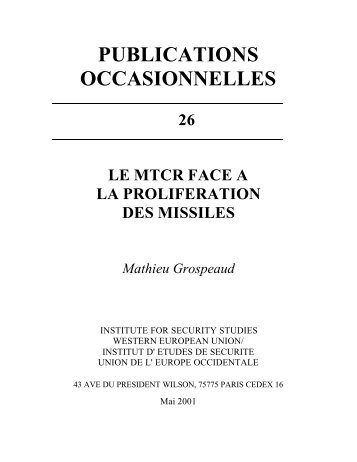 le mtcr face a la proliferation des missiles - Peace Palace Library