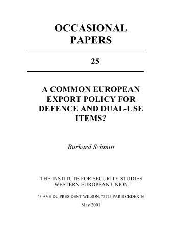 A common European export policy for defence and dual-use items?