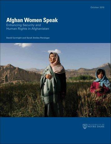 Afghan Women Speak: Enhancing Security and ... - PeaceWomen