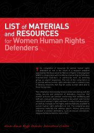 List of Materials and Resources for Women Human Rights Defenders