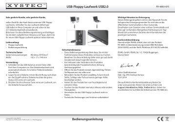 USB-Floppy-Laufwerk USB2.0 Bedienungsanleitung - Pearl