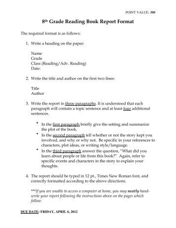 Sample Book Report Format  Book Report Template Book Report Format