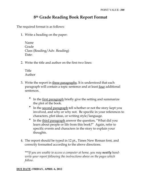 8th Grade Reading Book Report Format