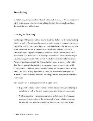 Peer editing checklist narrative essay