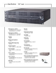 Specifications - Peavey