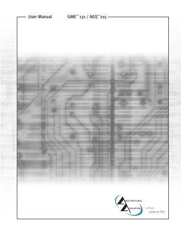 GME™ 131 / AEQ™ 215 User Manual - Peavey.com