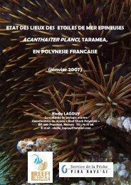 ACANTHASTER PLANCI, TARAMEA, - Site de la pêche