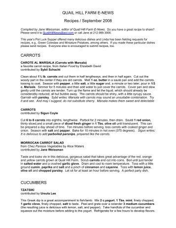QUAIL HILL FARM E-NEWS Recipes / September 2008 CARROTS ...