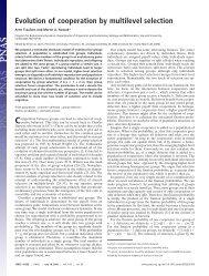 Evolution of cooperation by multilevel selection - Program for ...
