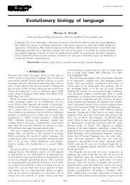 Evolutionary biology of language - Program for Evolutionary ...