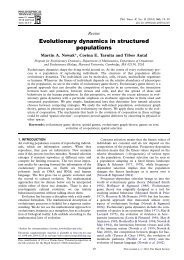 Evolutionary dynamics in structured populations - Program for ...