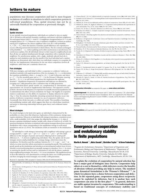 Emergence of cooperation and evolutionary stability in finite ...