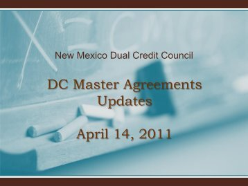 DC Master Agreements Updates April 14, 2011 - New Mexico State ...