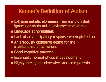 Kanner's Definition of Autism - New Mexico State Department of ...