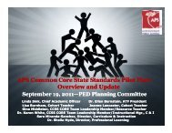 APS Common Core State Standards Pilot Plan - New Mexico State ...