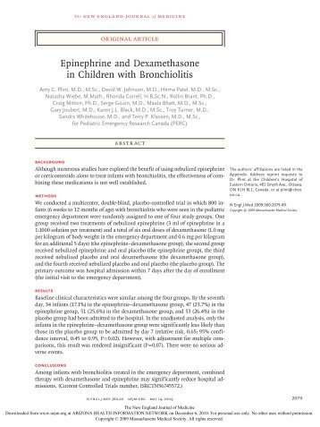 Epinephrine and Dexamethasone in Children with Bronchiolitis
