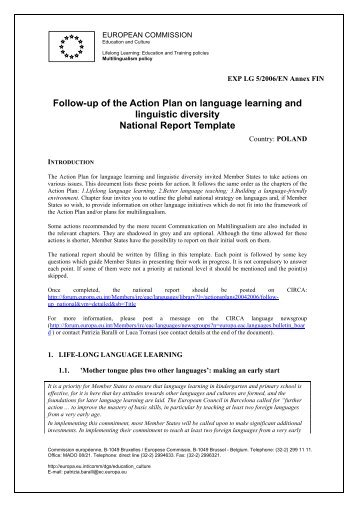 Follow-up of the Action Plan on language