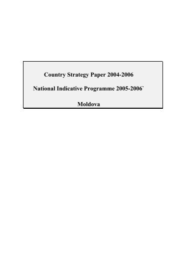 European Commission Moldova Country Strategy Paper 2002-2006