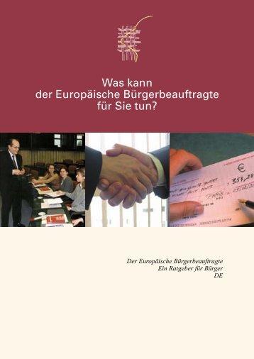 Was kann der Europäische Bürgerbeauftragte für Sie tun?