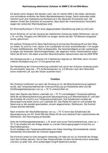 Nachrüstung Zuheizer BMW - E30-Talk