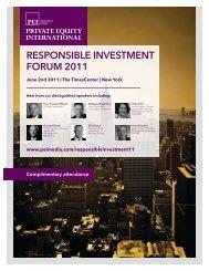 RESPONSIBLE INVESTMENT FORUM 2011 - PEI Media