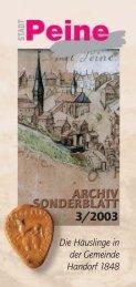 Die Häuslinge in der Gemeinde Handorf 1848 - Peine
