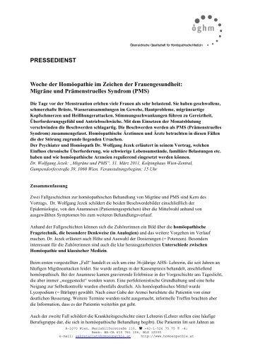 Migräne und Prämenstruelles Syndrom (PMS) - Peithner