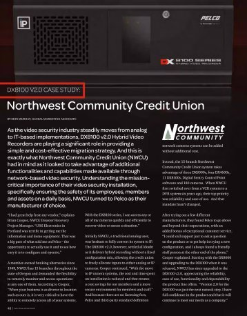 DX8100 at Northwest Community Credit Union (PDF file, 242 ... - Pelco