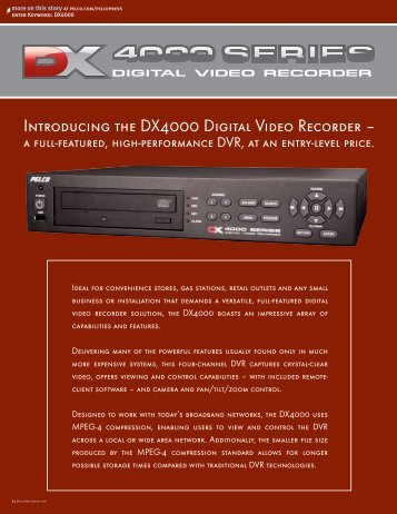 Introducing the DX4000 Digital Video Recorder - Pelco