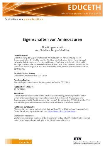 Eigenschaften von Aminosäuren - EducETH - ETH Zürich