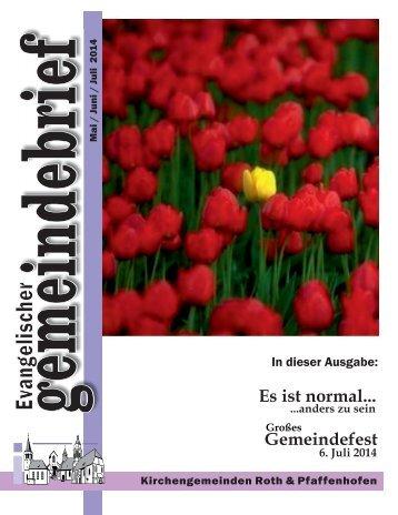 Ev. Kirchengemeinde Roth - Gemeindebrief Mai - Juli 2014