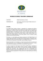 MIDDLE SCHOOL TEACHER LIBRARIAN - Pembroke School
