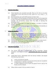 Application for Isolated Students' Bursary - Pembroke School