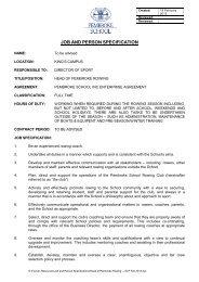 job specification template - Pembroke School