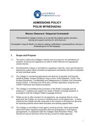 Admissions Policy - Pembrokeshire College