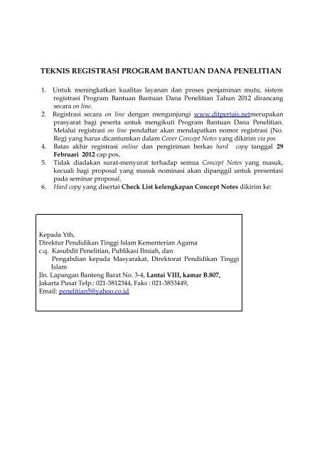 teknis registrasi program bantuan dana penelitian - Pendis ...