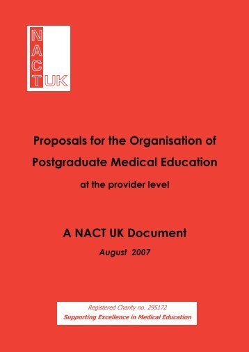 A Guide to the organisation of Postgraduate Medical Education