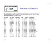 PRACTICE ICE SCHEDULE - Peninsula Skating Club