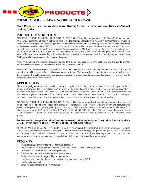 Premium Wheel Bearing Grease 707L - Pennzoil