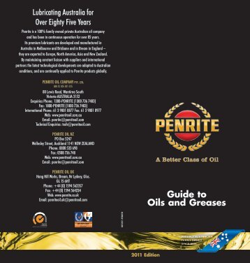 Guide to Oils and Greases - Penrite