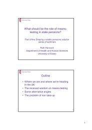 ruth hancock presentation 14 november 05 - Pensions Policy Institute