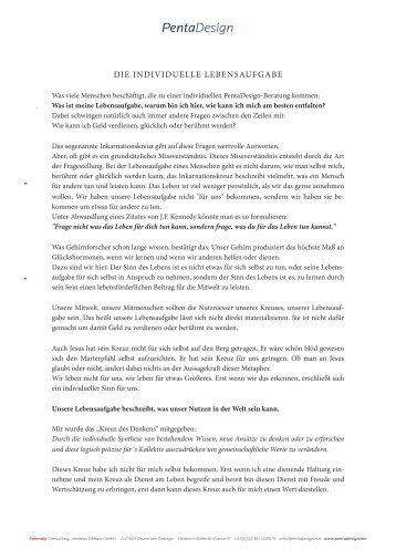 Die individuelle Lebensaufgabe (PDF). - PentaDesign