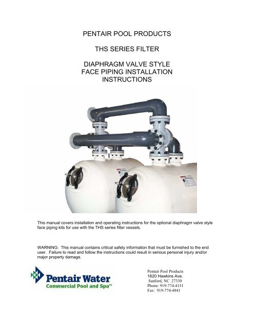 Pentair pool products ths series filter diaphragm valve