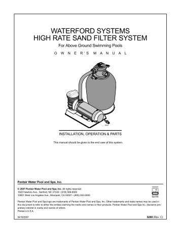 waterford systems high rate sand filter system - Pentair