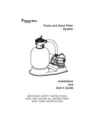 Pump and Sand Filter System Installation and User's Guide