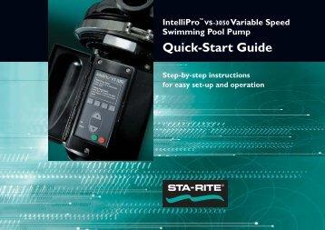 IntelliPro VS-3050 Quick Start Guide - Pentair