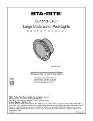 Sunbrite LTC Large Underwater Pool Lights Owner's Manual - Pentair